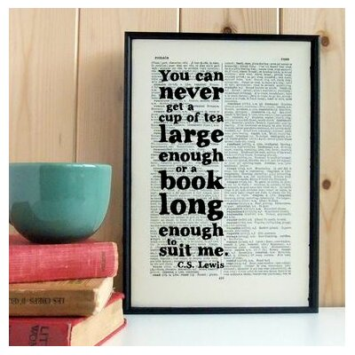 """Bookishly """"Tea and Books..."""" by CS Lewis Dictionary Framed Typography"""