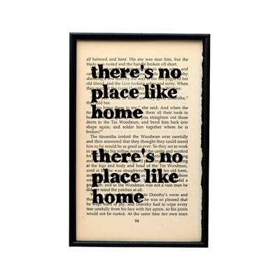 Bookishly There's No Place Like Home from Wizard of Oz by L. Frank Baum Framed Typography