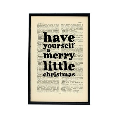 """Bookishly """"Have Yourself a Merry Little Christmas"""" Dictionary Framed Typography"""
