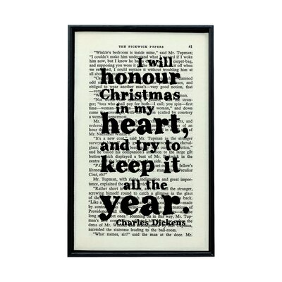 "Bookishly ""I will Honour Christmas..."" From A Christmas Carol by Charles Dickens Framed Typography"