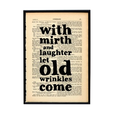 """Bookishly """"Mirth and Laughter..."""" by William Shakespeare Framed Typography"""