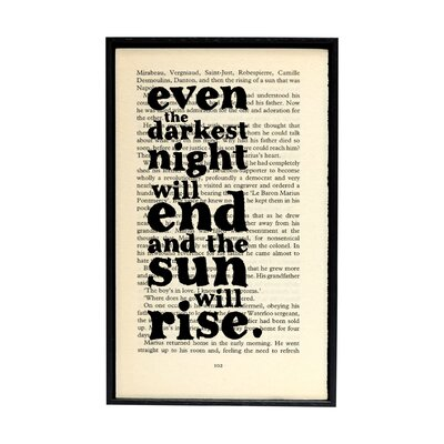 "Bookishly ""The Sun Will Rise"" from Les Miserables by Victor Hugo Framed Typography"
