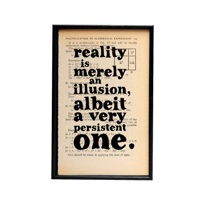 Bookishly Reality is Merely an Illusion by Albert Einstein Framed Typography