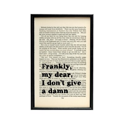 Bookishly Frankly My Dear... from Gone with the Wind Book Framed Typography
