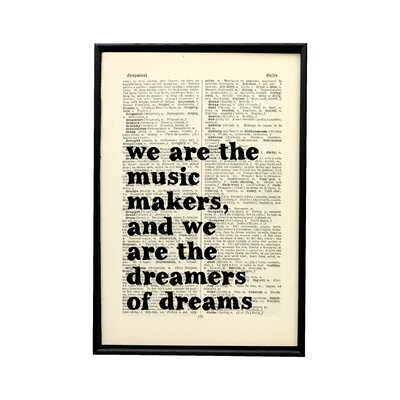 """Bookishly """"We are the Music Makers"""" by Arthur O'Shaughnessy Framed Typography"""