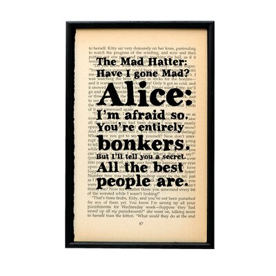 Bookishly You're Entirely Bonkers from Alice in Wonderland by Lewis Carroll Framed Typography