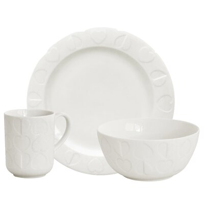 Beau & Elliot Embossed 3 Piece White Dinning Place Setting