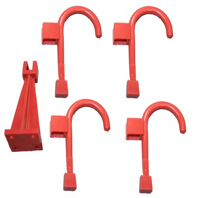 Wall Hanger and 4 Universal Wall Hook Finish: Chili Pepper Red