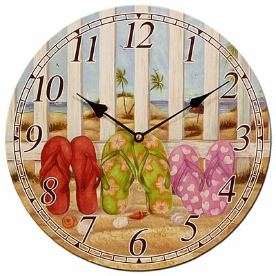 Carrick Design Flip-flop Wooden 33cm Wall Clock