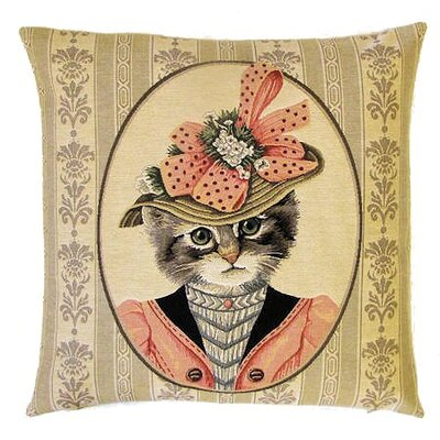 BelgianTapestries Victorian Cat with Hat Cushion Cover