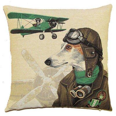BelgianTapestries Bomber Dog Pilot Cushion Cover