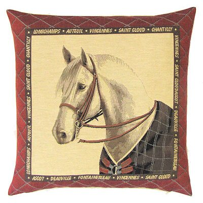 BelgianTapestries Horse with Blanket Cushion Cover