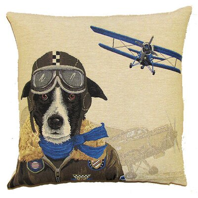 BelgianTapestries Bomber Dog Pilot Cushion Cover