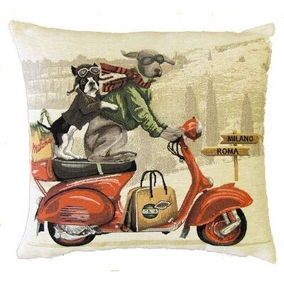 BelgianTapestries Dogs on Scooter Cushion Cover
