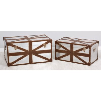Garpe Interiores London 2 Piece Pu and Aluminium Trunk Set