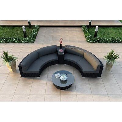 Urbana 4 Piece Sunbrella Sectional Set with Cushions Fabric: Canvas Charcoal