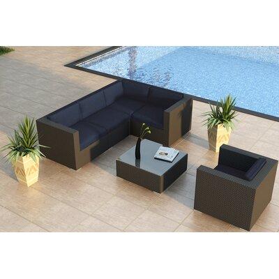 Urbana 5 Piece Sunbrella Sectional Set with Cushions Fabric: Spectrum Indigo