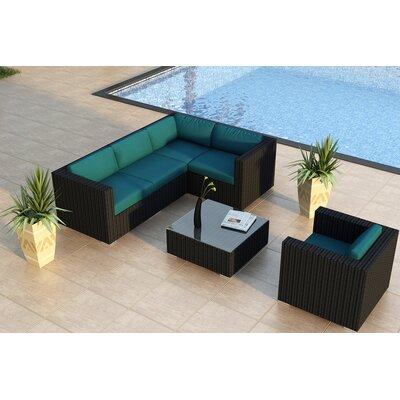 Urbana 5 Piece Sunbrella Sectional Set with Cushions Fabric: Spectrum Peacock