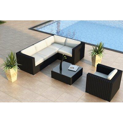 Urbana 5 Piece Sunbrella Sectional Set with Cushions Fabric: Canvas Natural