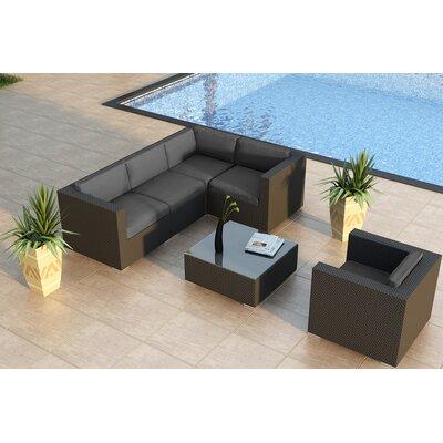 Urbana 5 Piece Sunbrella Sectional Set with Cushions Fabric: Cast Lagoon