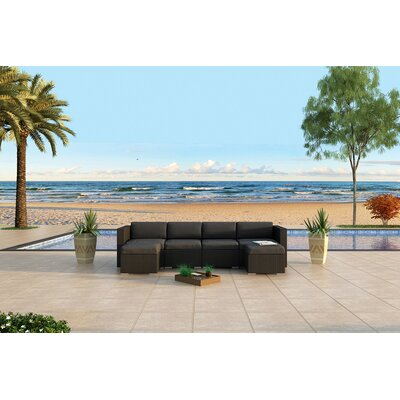 Urbana 6 Piece Sunbrella Sectional Set with Cushions Fabric: Canvas Charcoal