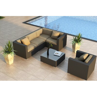 Urbana 5 Piece Sunbrella Sectional Set with Cushions Fabric: Heather Beige