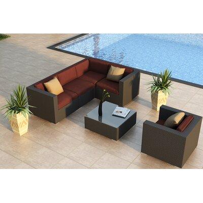 Urbana 5 Piece Sunbrella Sectional Set with Cushions Fabric: Canvas Henna