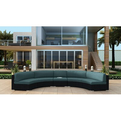Urbana 3 Piece Extended Curved Sectional Set with Cushions Fabric: Cast Lagoon