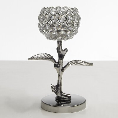 Artra Teelichthalter Leaves aus Aluminium / Glaskristall
