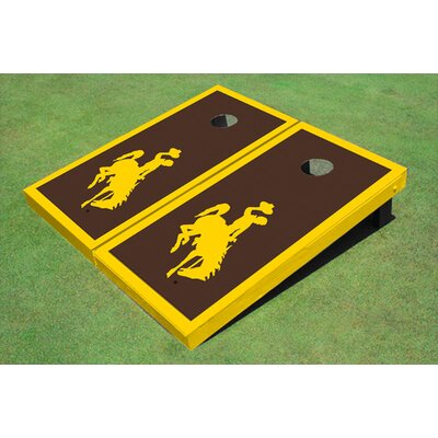 NCAA 10 Piece Matching Border Cornhole Board Set NCAA Team: University Of Wyoming Cowboys, Color: Brown