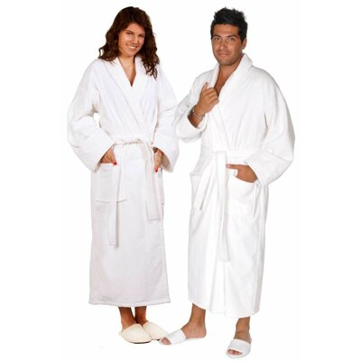 Terry Velour Shawl Robe Color: White, Size: Adult - One Size