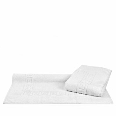 Greek Key Bath Rugs Color: White