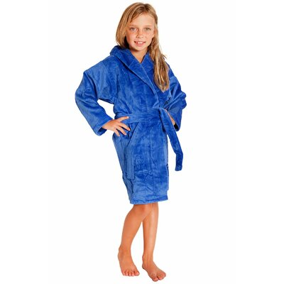 Kids Hooded Terry Velour Robe Size: Kids (Age 7-10) - Large, Color: Royal Blue