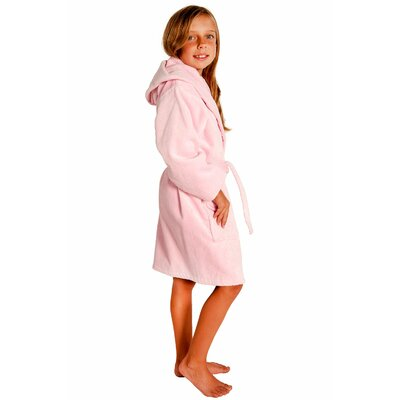 Kids Hooded Terry Velour Robe Size: Kids (Age 7-10) - Large, Color: Pink