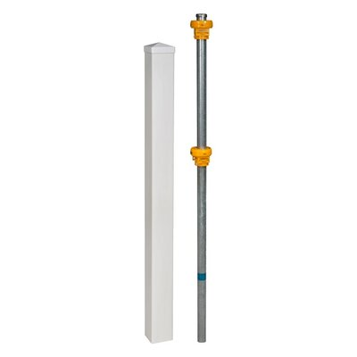 Vinyl Finishing Post with Cap and Steel Pipe Anchor Kit