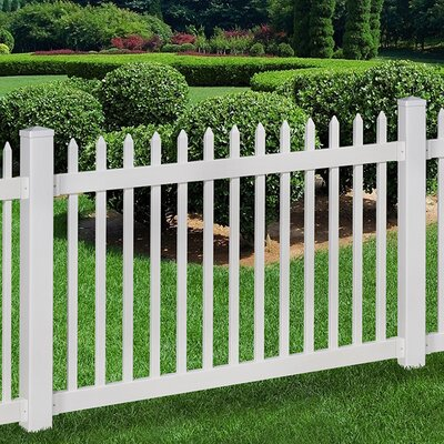 4 ft. x 6 ft. Nantucket Vinyl Picket Fence with Post and Pipe Anchor Kit
