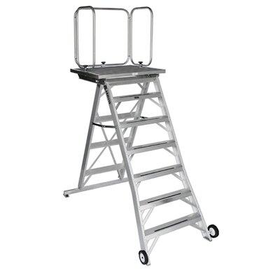 6 ft Aluminum Model 14 Podium Step Ladder with 225 lb. Load Capacity Finish: Green