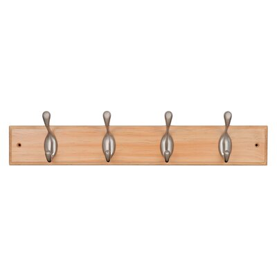 Dena Coat Hook Rail Finish: Pine/Satin Nickel