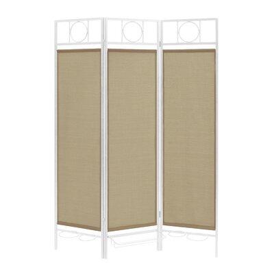 3 Panel Room Divider Color: White / Sand