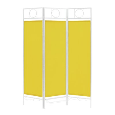 3 Panel Room Divider Color: White / Yellow