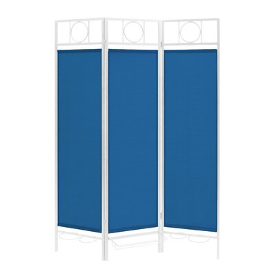 3 Panel Room Divider Color: White / Blue