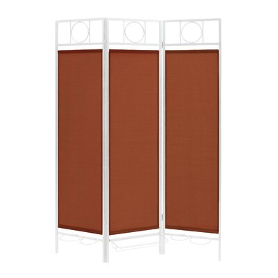 3 Panel Room Divider Color: White / Terracotta