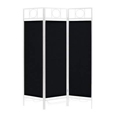 3 Panel Room Divider Color: White / Ebony