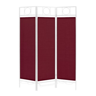 3 Panel Room Divider Color: White / Burgundy