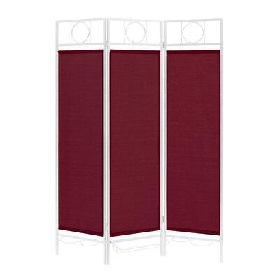 3 Panel Room Divider Color: White / Burgundy