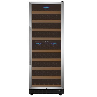 99 Bottle Vite Series Dual Zone Freestanding Wine Cooler Finish: Stainless Steel