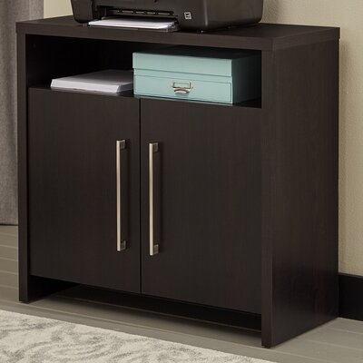 2 Door Storage Accent Cabinet Color: Black