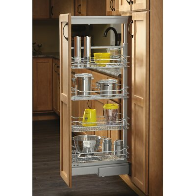 "4-1/8 in. Chrome 4 Basket Pull-Out Pantry with Soft-Close Slides Size: 71"" H x 4.12"" W x 21.62"" D"