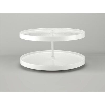 "Polymer Full Circle 2 Shelf Lazy Susan Size: 18"" H x 32"" W x 32"" D, Finish: Almond"