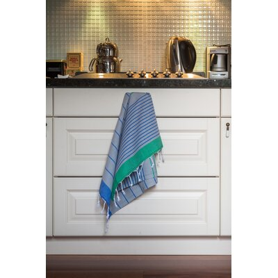 Knidos 100% Cotton Hand Towel Color: Royal Blue Base with Green and Gray Stripes